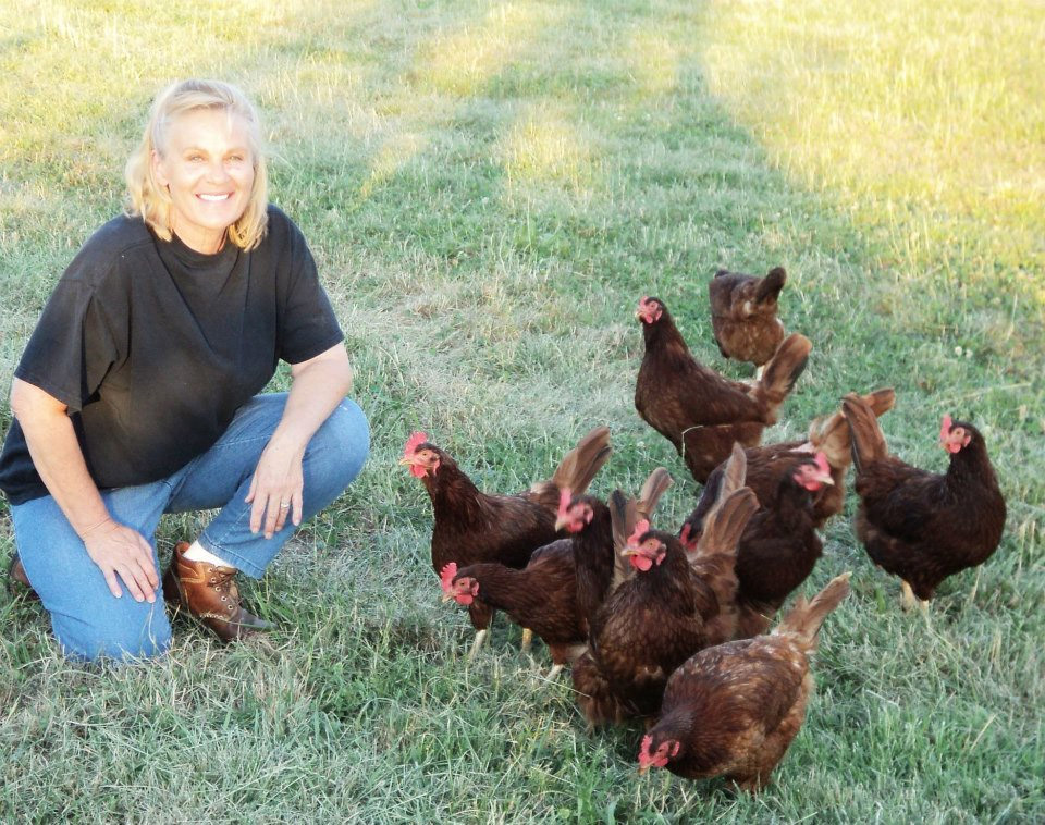Carole Morison with Hens